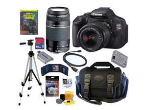 Canon t3i EOS Rebel T3I 18MP DSLR Camera Lens Kit 18-55 IS II & 75-300 III USM Lenses 16GB DLX Kit