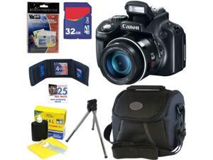 CANON PowerShot SX50 HS 12.1 MP Digital Camera with 50x Optical IS Zoom + 6pc Bundle 32GB Accessory Kit