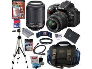NIKON D5200 24.1 MP CMOS DSLR Camera (Black) Lens Kit with 18-55mm f/3.5-5.6G AF-S DX VR and 55-200mm f/4-5.6G ED IF AF-S ...