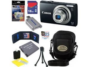 CANON PowerShot A2300 16.0 MP Digital Camera with 5x Digital Image Stabilized Zoom (Black) + NB-11L Battery + 16GB Deluxe ...