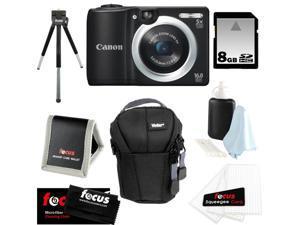 CANON PowerShot A1400 16.0 MP Digital Camera with 5x Digital Zoom (Black) + 8 GB Memory Card + Camera Case + Kit