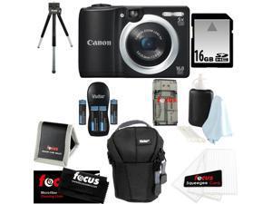 CANON PowerShot A1400 16.0 MP Digital Camera with 5x Digital Zoom (Black) + 16 GB Memory Card + Camera Case + Kit