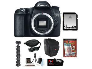 Canon 70d EOS 70D 20.2 MP Digital SLR Camera w/ Dual Pixel CMOS AF (Body Only) + 32GB Memory Card + Camera Case w/ Shoulder ...