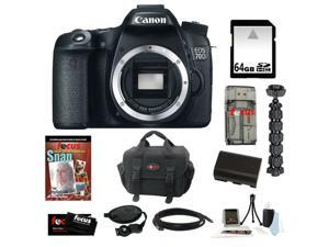 Canon 70d EOS 70D 20.2 MP Digital SLR Camera w/ Dual Pixel CMOS AF (Body Only) + 64GB Memory Card + Replacement Battery + ...