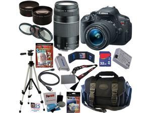 Canon EOS Rebel T5i 18.0 MP CMOS Digital Camera with EF-S 18-55mm f/3.5-5.6 IS STM Zoom Lens + EF 75-300mm f/4-5.6 III Telephoto ...