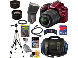 NIKON D3200 24.2 MP CMOS Digital SLR Camera (Red) with 18-55mm f/3.5-5.6 AF-S DX VR NIKKOR Zoom Lens + Automatic TTL Flash ...