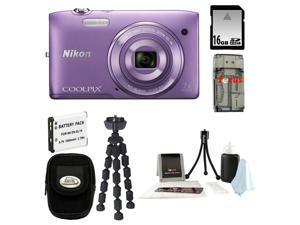 NIKON COOLPIX S3500 20.1 MP Digital Camera (Purple) Bundle with 16GB SD Memory Card + Card Reader + Repalcement Battery for ...