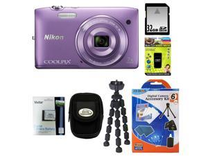 NIKON COOLPIX S3500 20.1 MP Digital Camera (Purple) Bundle with 32GB SD Memory Card + Card Reader + Vivtar Repalcement Battery ...