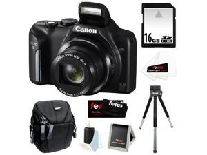 CANON PowerShot SX170 IS 16MP Digital Camera with 16x Optical Zoom and 3-inch LCD in Black + 16GB SDHC + Compact Camera Case ...