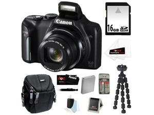 CANON PowerShot SX170 IS 16MP Digital Camera with 16x Optical Zoom and 3-inch LCD in Black + 16GB SDHC + Replacement NB-6L ...