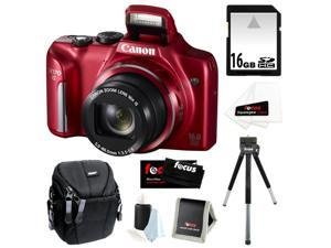 CANON PowerShot SX170 IS 16MP Digital Camera with 16x Optical Zoom and 3-inch LCD in Red + 16GB SDHC + Compact Camera Case ...