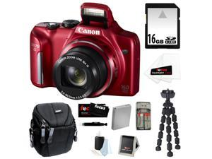 CANON PowerShot SX170 IS 16MP Digital Camera with 16x Optical Zoom and 3-inch LCD in Red + 16GB SDHC + Replacement NB-6L ...