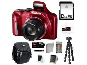 CANON PowerShot SX170 IS 16MP Digital Camera with 16x Optical Zoom and 3-inch LCD in Red + 32GB SDHC + Replacement NB-6L ...