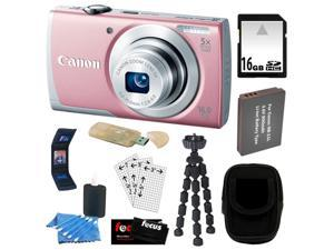 CANON PowerShot A2600 IS 16.0 MP Digital Camera with 5x Optical Zoom and 720p Full HD Video Recording in Pink + 16GB SDHC ...