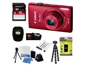 CANON PowerShot ELPH 130 IS 16.0MP Wi-Fi Digital Camera - Red + 16GB Class 10 SD Memory Card + Multi Card Reader/Writer + ...