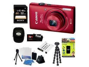 CANON PowerShot ELPH 130 IS 16.0MP Wi-Fi Digital Camera - Red + 32GB Class 10 UHS-1 Memory Card + Multi Card Reader/Writer ...