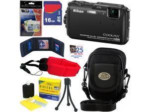 Nikon COOLPIX AW110 16 MP Waterproof Digital Camera with GPS & Built-In Wi-Fi (Black) + 7pc Bundle 32GB Accessory Kit