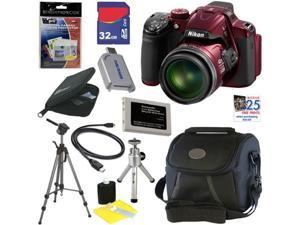 "Nikon COOLPIX P520 18.1 MP CMOS Digital Camera with 42x Zoom and ""GPS"" (Red) + EN-EL5 Battery + 9pc Bundle 32GB Deluxe Accessory ..."