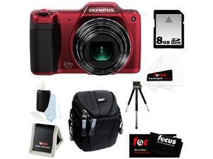 Olympus Stylus SZ-15 16MP Digital Camera with 24x Optical Zoom + 8GB Memory Card + Kit Bundle