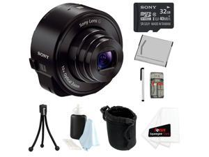 Sony DSC-QX10 QX10 18MP Smartphone Interchangeable Attachable Lens-Style Camera with 10x Optical Zoom and NFC/ Wi-Fi + Sony ...
