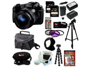 Sony DSCRX10 DSC-RX10/B RX10 Cybershot 20.2 MP Digital Still Camera + Two Sony 64 GB SDHC Class 10 Memory Cards + Wasabi ...