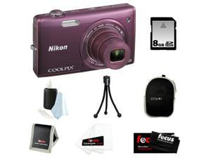 Nikon COOLPIX S5200 + 8GB SD HC Memory Card + Small Black Neoprene Case for Digital Cameras + Focus Micro Fiber Cleaning ...