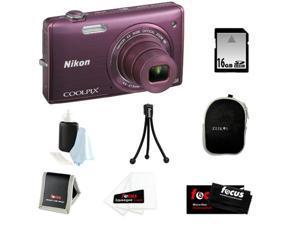 Nikon COOLPIX S5200 + 16GB SD HC Memory Card + Small Black Neoprene Case for Digital Cameras + Focus Micro Fiber Cleaning ...