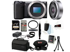 Sony NEX-5T NEX-5T/B NEX-5TB Compact Interchangeable Lens Digital Camera (Body Only) + Sony SEL16F28 16mm f/2.8 Wide-Angle ...