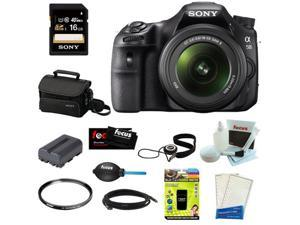 "Sony SLT-A58K SLT-A58 with 18-55mm Zoom Lens, 20.1MP DSLR Camera w/ 2.7"" LCD Screen + Sony 16GB Memory Card + Sony Small ..."