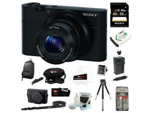 Sony DSC-RX100/B RX100 20.2MP Digital Camera with 3.6x Optical Zoom and 3-inch Xtra Fine LCD + Sony 32GB Class 10 Memory ...