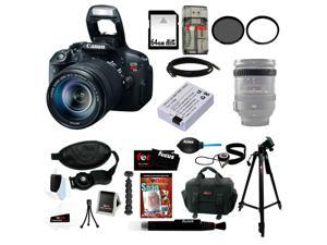 "Canon t5i EOS Rebel T5i with EF-S 18 135mm IS STM Bundle + Replacement Battery for LP-E8 + 59"" Tripod + 64GB SD DSLR Camera ..."