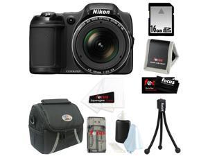 NIKON COOLPIX L820 16 MP Digital Camera with 30x Zoom (Black) + 7pc Bundle 16GB Accessory Kit