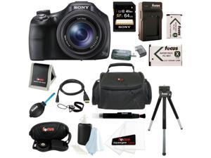 Sony HX400/B 20.4MP High Zoom Point and Shoot Camera with Sony 64GB SD Card + Carry Case + (2) Replacement NP-BX1 Battery ...