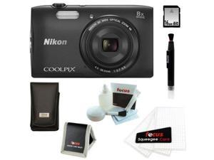 Nikon S3600 COOLPIX 20.1 MP Digital Camera with 8x Zoom NIKKOR Lens and 720p HD Video (Black) with 16GB Accessory Kit