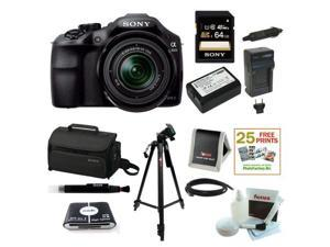 Sony ILCE-3000K ILCE-3000KB 20. 1MP A3000 Interchangeable Lens Camera with 18-55mm Zoom Lens (Black) with Sony 64GB SD Card ... - OEM