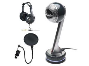 Blue Microphones Nessie Adaptive USB Microphone + JVC Full-Size Headphones in Black + Accessory Kit - OEM