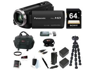 Panasonic HC-V180 HD Video  Camcorder 64GB Card + 2 Batteries w/ Charger Kit