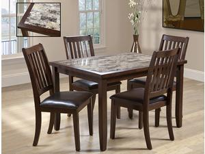 5-Piece Rectangular Dining Set (Dark Brown)