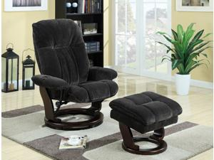 Primo International Kathy Ireland Swivel Recliner Chair with Ottoman (Grey)