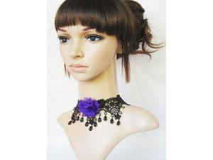 New Arrival Vintage Gothic Lace Necklace with Pupple Flower