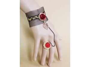 2014 New Gold Heart Lace Bracelet with Ring Women Vintage Accessories