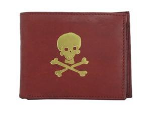 Gold Skull and Cross Bones Red Leather Bi-fold Wallet