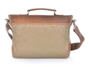 Otium 21108CF High Density Canvas Leaisure Handbag Genuine Leather Deco - Khaki