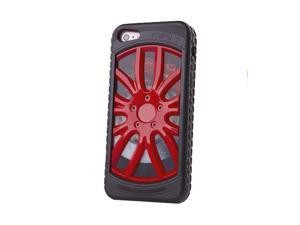 "HJX Red/Black iphone 4/4s 3D ""Car Wheel"" Racing Hard Shell TPU Rubber Bumper PC Back Plate Rigid Case Cover for iPhone 4 ..."