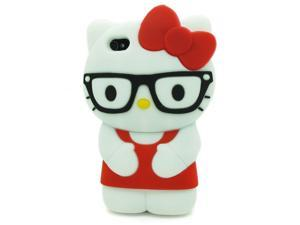 HJX Red iPhone 4/4S Lovely 3D Glasses Hello Kitty Soft Silicone Case Protective Cover Skin for Apple iPhone 4 4S 4G