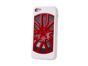 "HJX Red/White iphone 4/4s 3D ""Car Wheel"" Racing Hard Shell TPU Rubber Bumper PC Back Plate Rigid Case Cover for iPhone 4 ..."