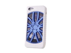 "HJX Blue/White iphone 4/4s 3D ""Car Wheel"" Racing Hard Shell TPU Rubber Bumper PC Back Plate Rigid Case Cover for iPhone 4 ..."