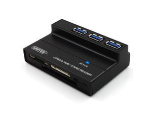 UNITEK U3123-30HUBCR-01 USB 3.0 3-port Hub + All-in-one Card Reader with 5V/2A Power Adapter