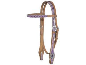 Tough-1 Western Headstall Floral Sweet Pea Mini Tan/Purple 45-7950