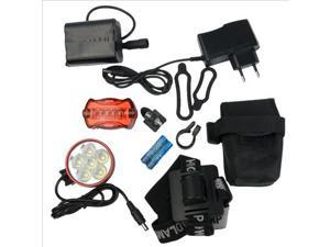 CREE 6X XM-L XML T6 LED Headlamp Headlight 8000Lum SET(EU Plug) + Rear Tail LIGHT LD201